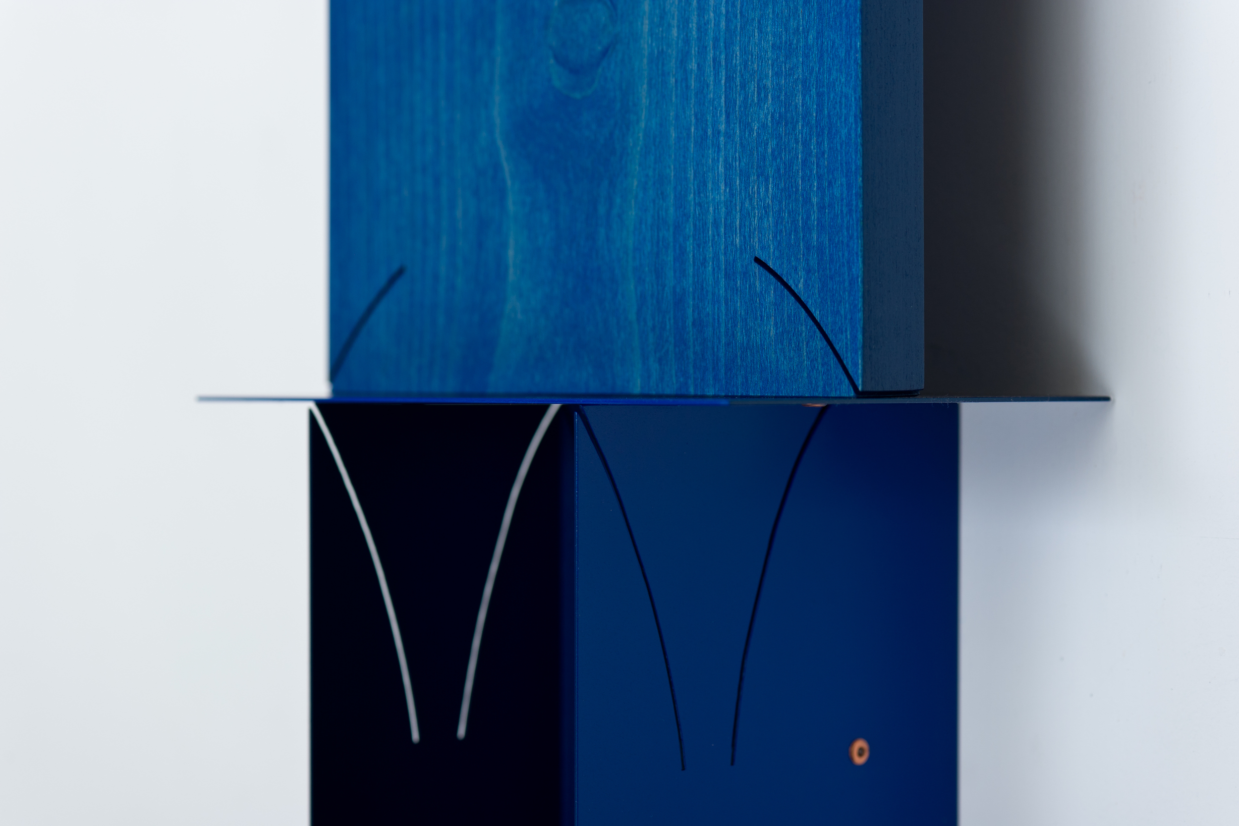 Stacked Plaques (Navy) 2014 Euro-Beech hardwood, steel, copper rivets, enamel, wax 57.6 x 20.3 x 12.7 cm / 22.7 x 8 x 5 in