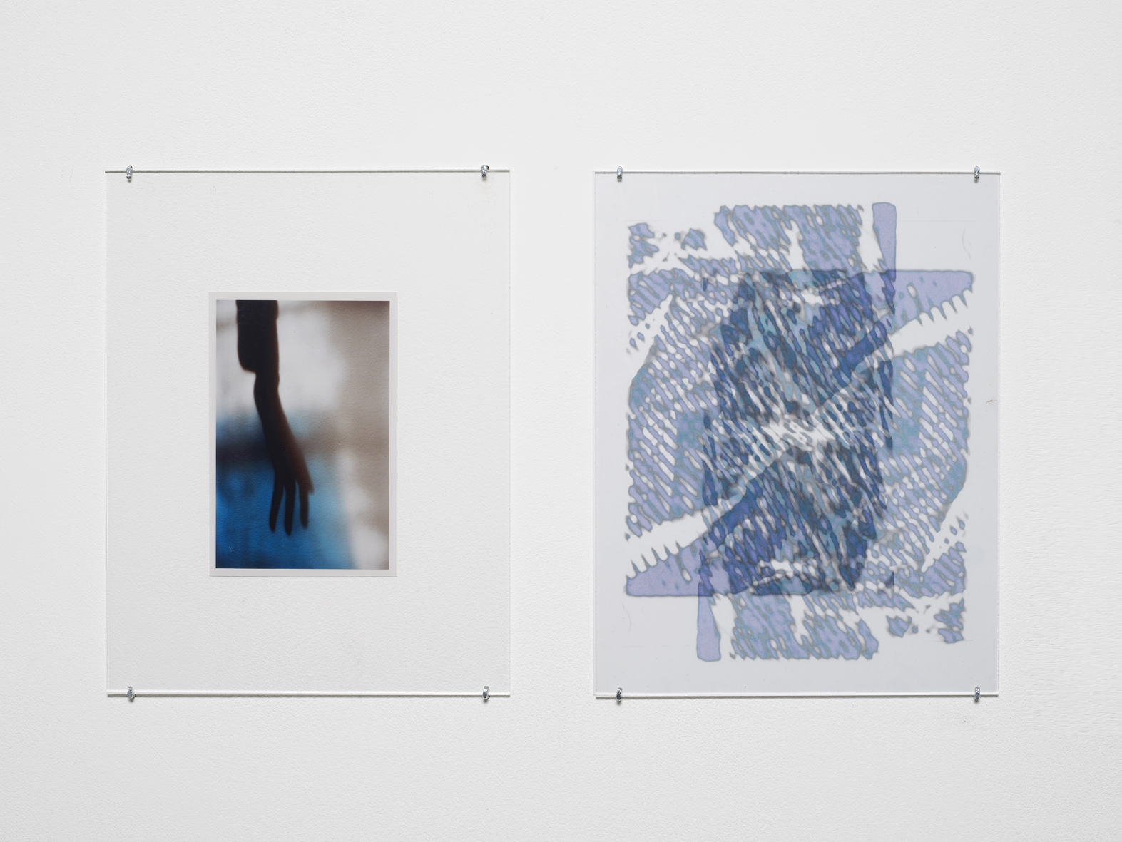 Untitled 2014-2015 Unique C-print, inkjet print on two transparencies, non-reflective perspex, L shaped pins  2 parts, each: 27.9 x 21.5 cm / 11 x 8.5 in