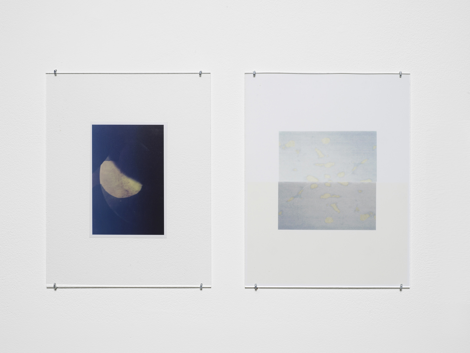 Untitled 2015 Unique C-print, inkjet print, non-reflective perspex, L shaped pins  2 parts, each: 27.9 x 21.5 cm / 11 x 8.5 in