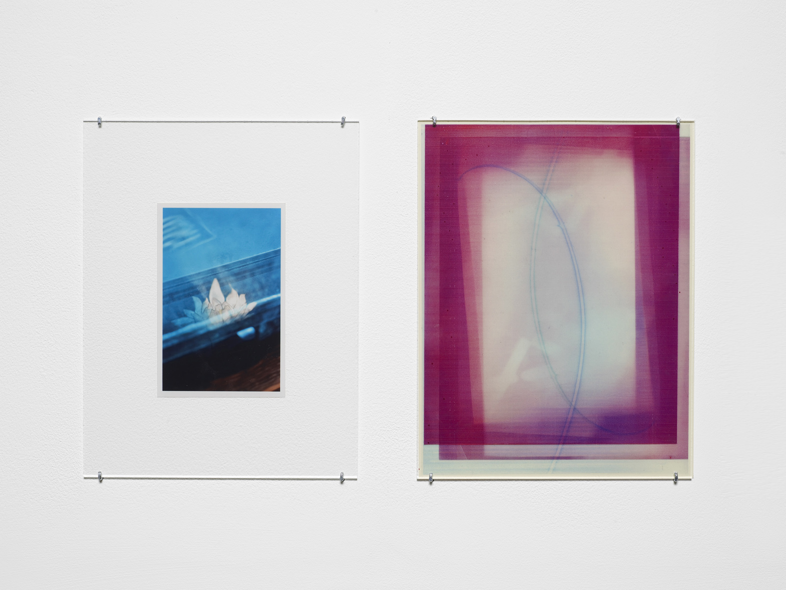 Untitled 2015 Unique C-print, inkjet print, inkjet print on transparency, non-reflective perspex, L shaped pins  2 parts, each: 27.9 x 21.5 cm / 11 x 8.5 in