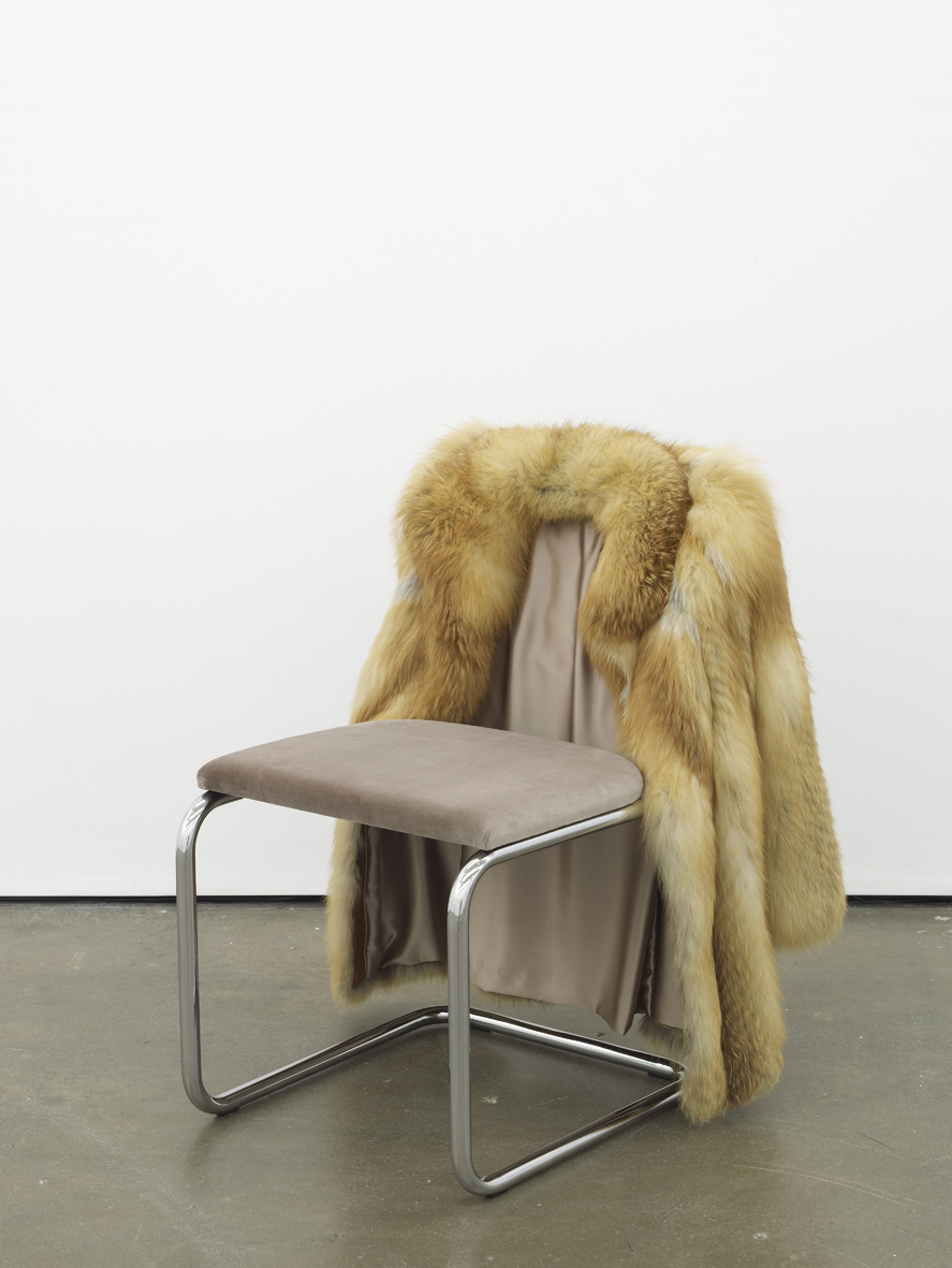 Nicole Wermers Untitled chair  2014 Arctic fox (red), steel tubing, upholstery, silk and velvet 85 x 65 x 60 cm / 33.4 x 25.5 x 23.6 in
