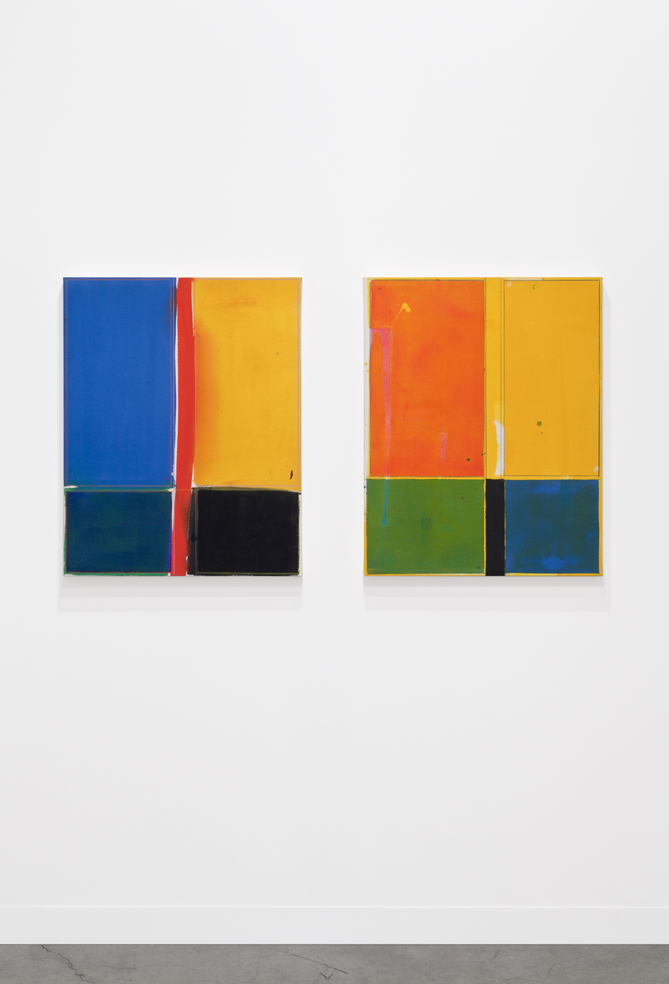 Small Bottoms (Pink, Yellow, Green, Blue, Black) (Blue, Yellow, Red, Black, Green) 2014 Acrylic on canvas 2 parts each: 73.6 x 58.4 cm / 29 x 23 in