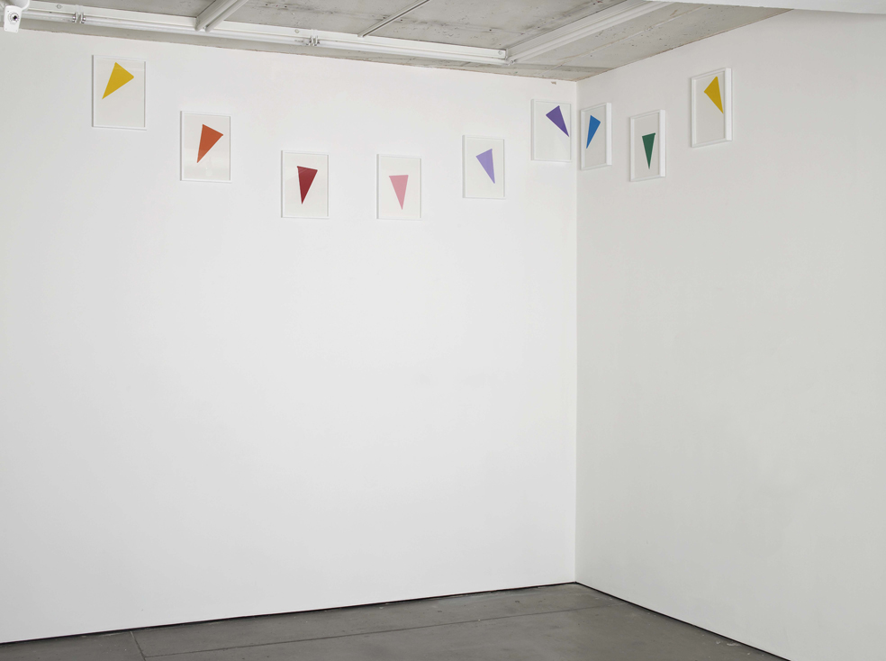 Amalia Pica Corner reconfiguration #1 2015 Installation with 9 framed collages (frame, paper, glue) Left: 315 x 86 cm / 124 x 33.8 in Right: 145 x 52 cm / 57 x 20.4 in