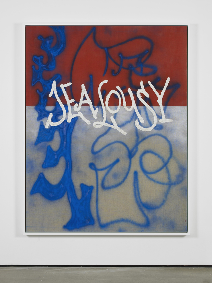 Jealousy 2014 Spray paint (chalk), fixative and 'puff paste' medium on glue primed linen canvas 180 x 140 cm / 70.8 x 55.1 in