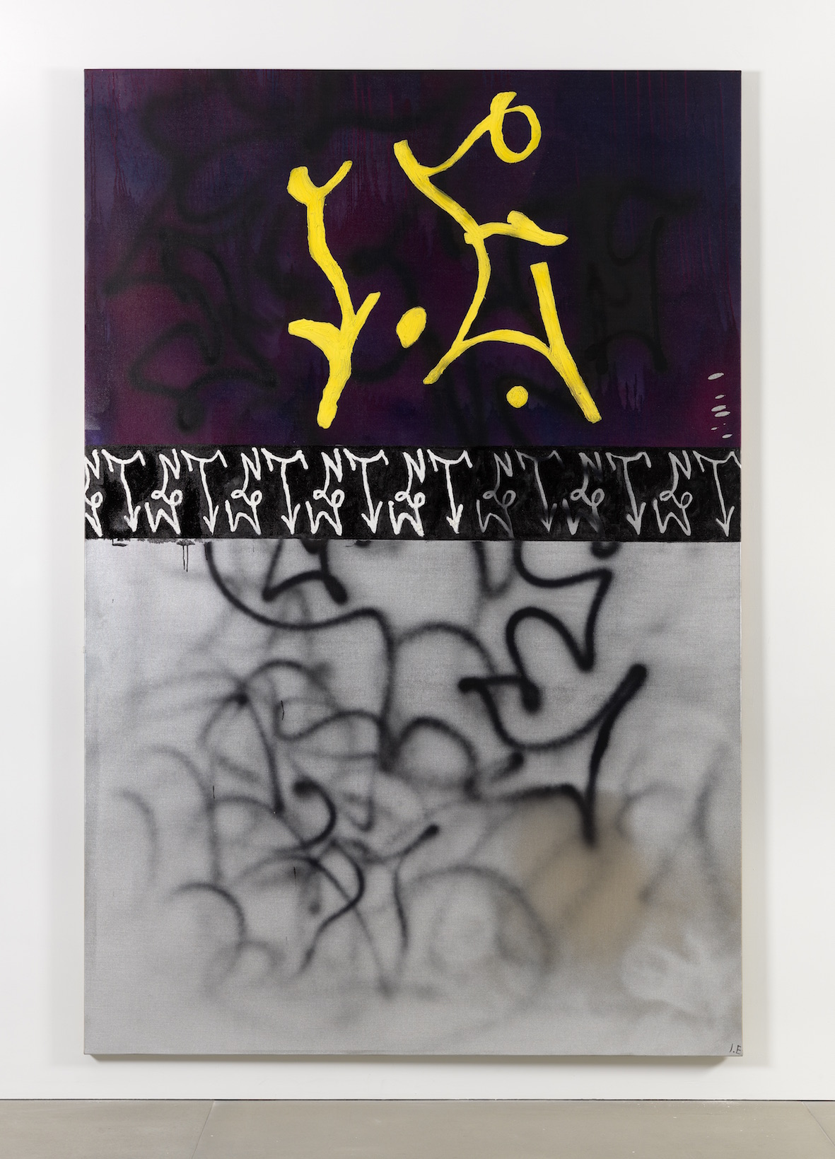 The Startling Mystery In Such Wasting Dwindle D for Dasein 2014 Molotow spray-paint, airbrushed ink and acrylic, puffy ink, Plastisol and acrylic on gesso primed linen 300 x 200 cm / 118.1 x 78.7 in