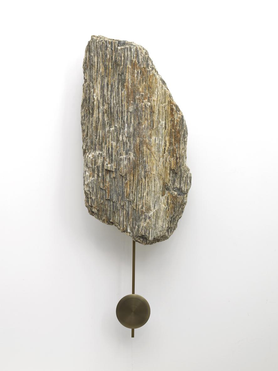 Clock Rock 2015 Tiger gneiss rock, brass pendulum, clock movement 100 x 50 x 20 cm / 39.3 x 19.6 x 7.8 in