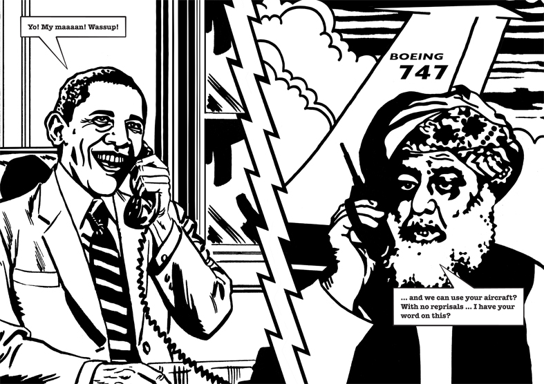 Anish and Antony Take Afghanistan Illustrations: Will Henry 2014 Inkjet print on paper 32 parts Ed. 1/2 + 1 AP