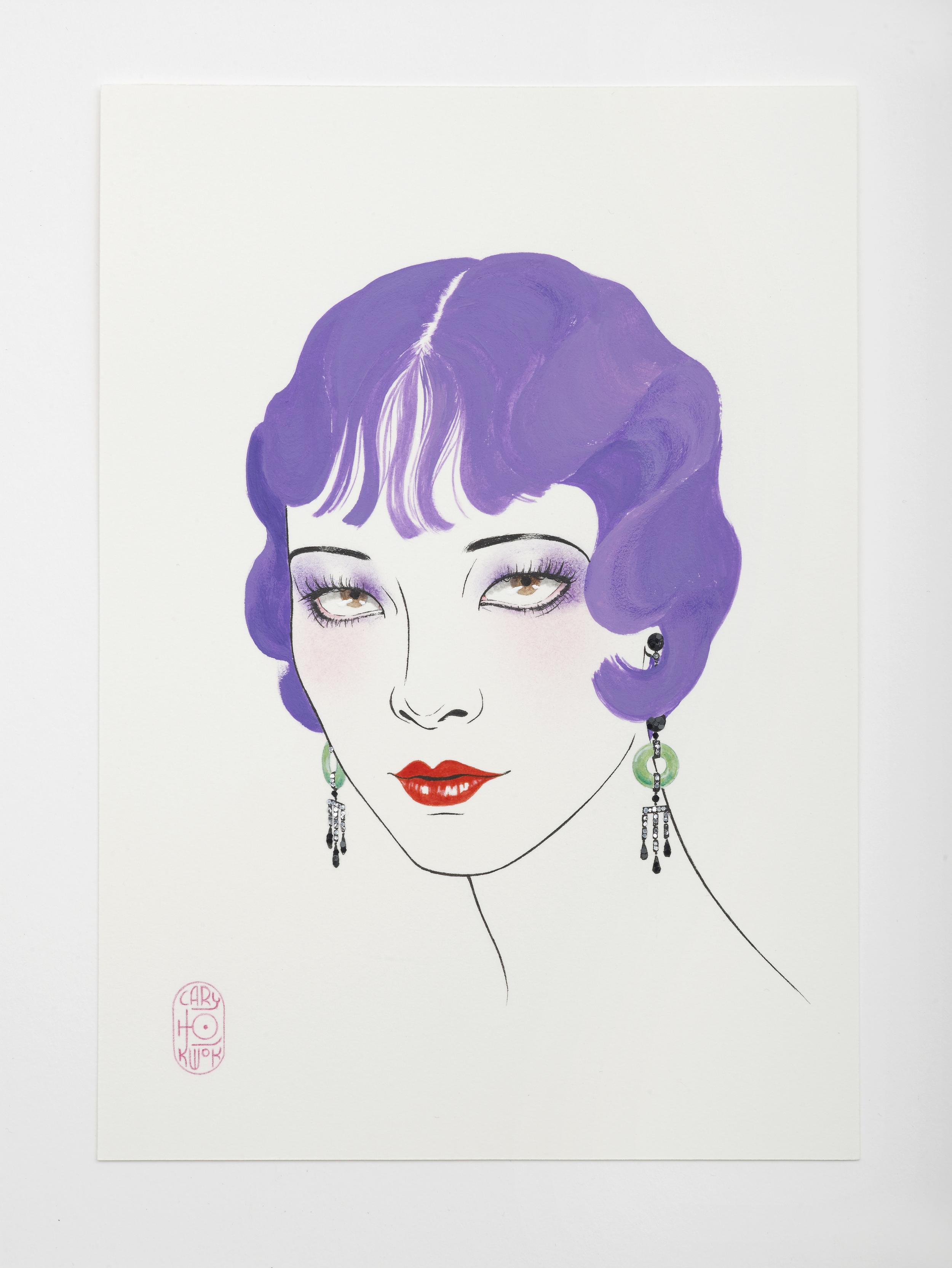 Plumage (Purple - 1920s) 2016 Ink, acrylic, glitter 21 x 14.8 cm / 8.2 x 5.8 in