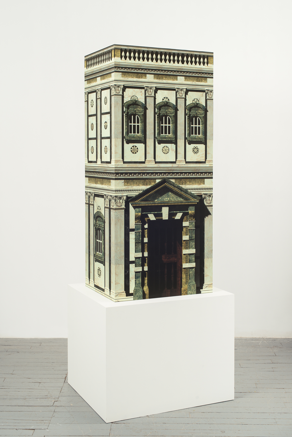 Hollow Renaissance Edifice 2016 Computer generated print on acid free cotton paper, MDF, plywood 159 x 70 x 54 cm / 62.5 x 27.5 x 21.2 in     Plinth 70 x 90 x 74 cm / 27.5 x 35.4 x 29.1 in