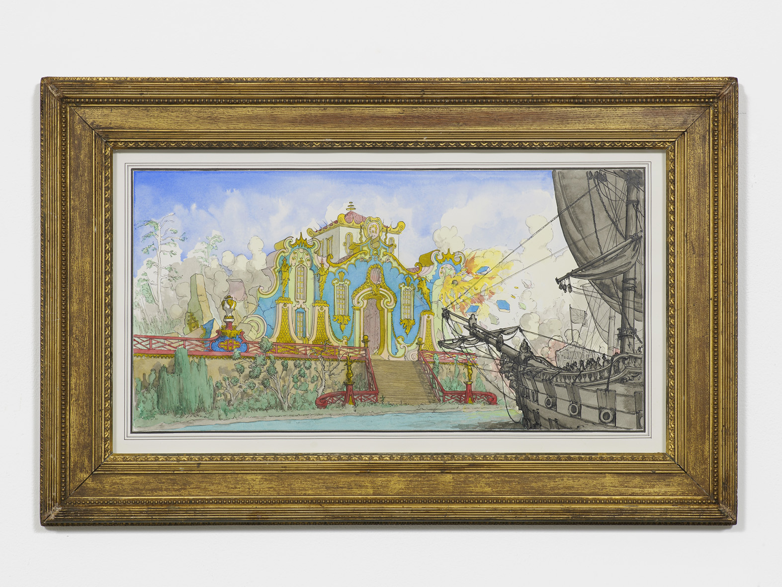 The Old Qianlong Summer Palace bombarded by the English and French fleet, 1860 2016 Ink and watercolour on paper in artist's frame 45.9 x 71.1 cm / 18 x 27.9 in