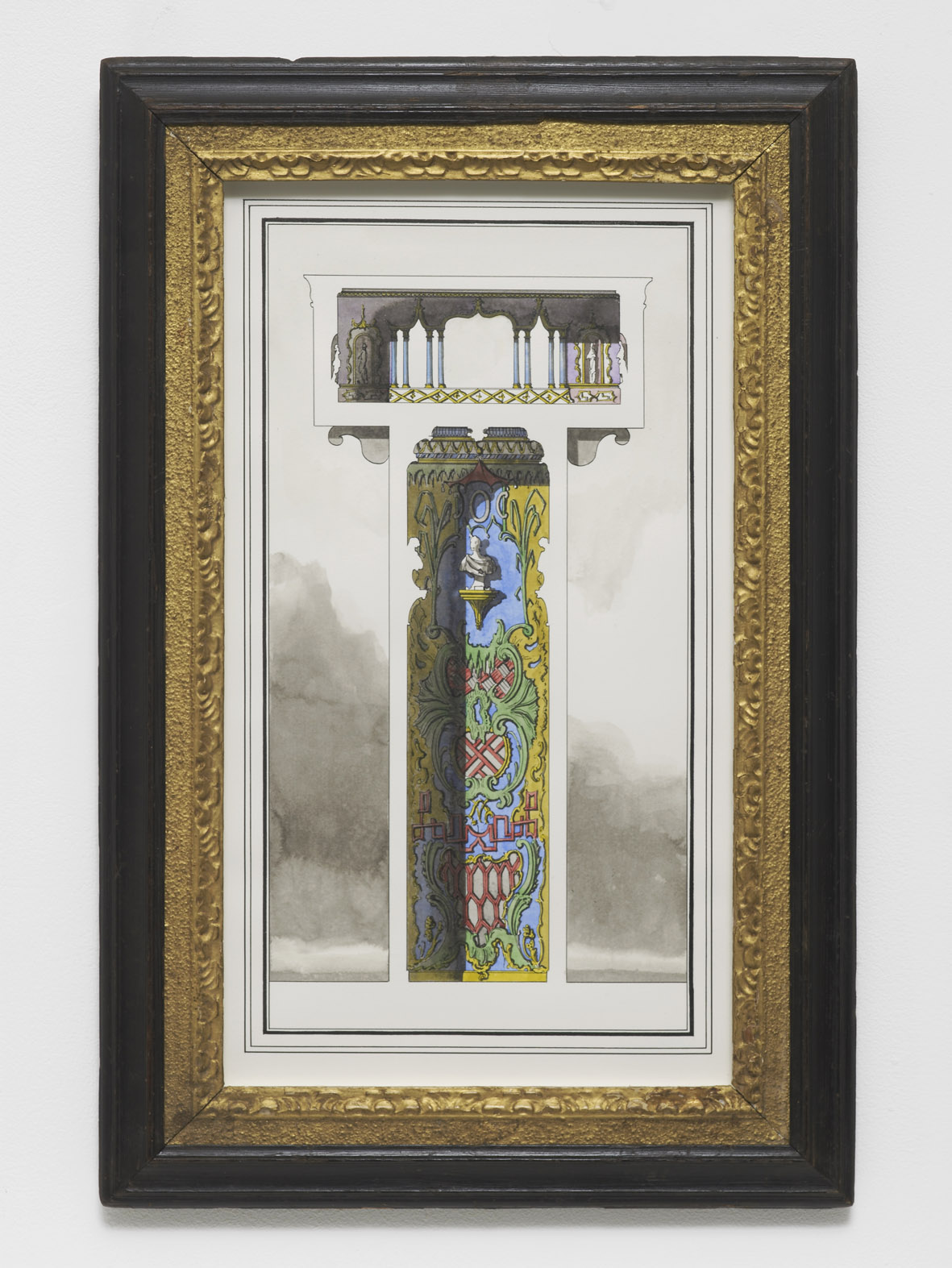 Two-storey, two room pavilion in the Oriental Taste 2016 Ink and watercolour on paper 49.2 x 32 cm / 19.3 x 12.5 in (framed)