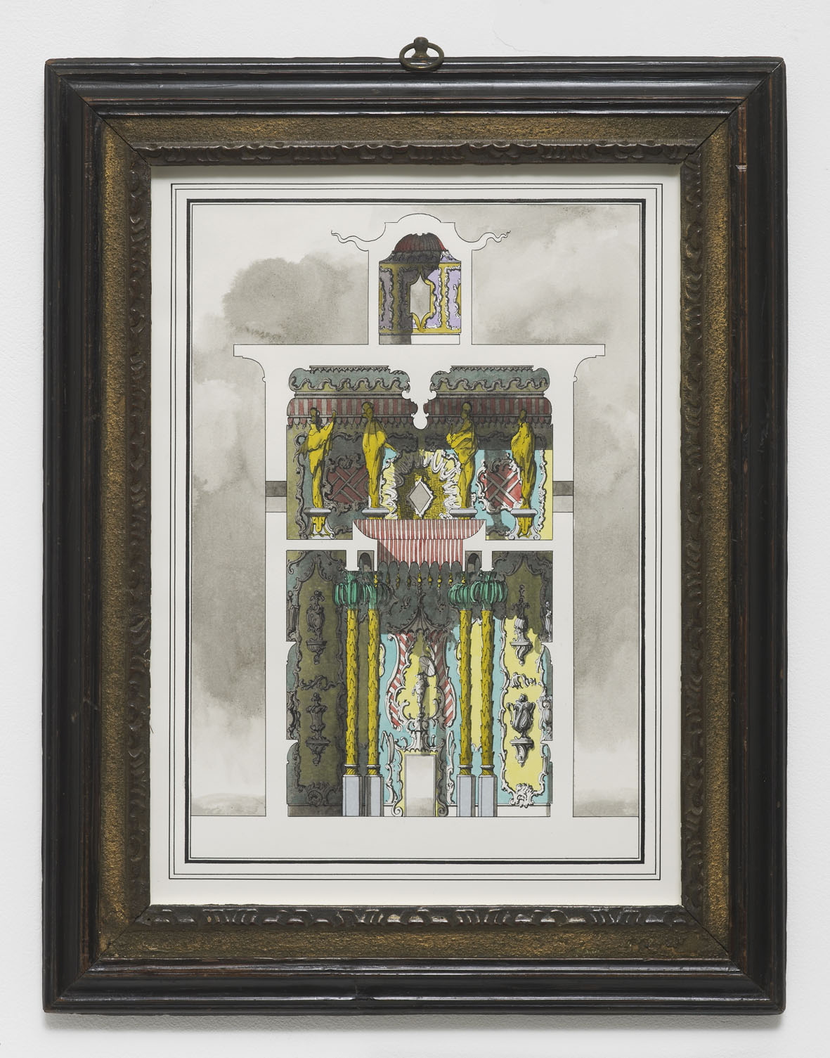 Two-storey, two room pavilion in the Oriental Taste 2016 Ink and watercolour on paper 46.5 x 36 cm / 18.3 x 14.1 in (framed)
