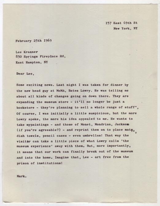 Rothko/Krasner 2015 Typewritten letter on vintage writing paper  22.7 x 17.7 cm / 8.9 x 6.9 in