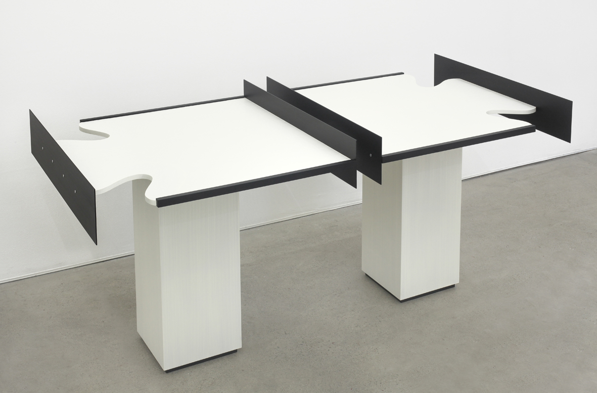 Split Table 2016 Birch plywood, euro-beech hardwood, aluminum, aluminum rivets, acrylic 96.5 x 121.9 x 60.9 cm / 38 x 48 x 24 in