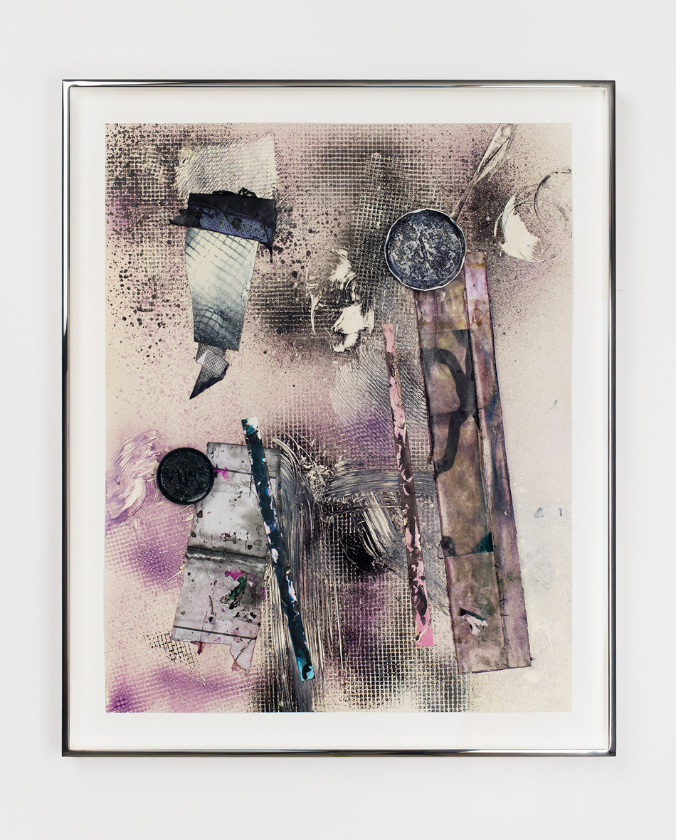 Untitled 2009 - 2016 Acrylic paint, enamel paint, dyed colour photograms, dyed photocopies, dyed ink jet print, steel lids, paintbrush tip, coffee grounds, dyed paper, gloss varnish, gouache, acrylic medium, ink, dye on paper 69.3 x 56.6 x 3.8 cm / 27.3 x 22.3 x 1.5 in framed