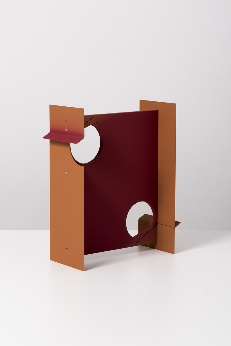 Two Vents ( Rust ) 2016 Aluminum, copper rivets and vinyl paint 25.4 x 20.3 x 12.7 cm / 10 x 8 x 5 in