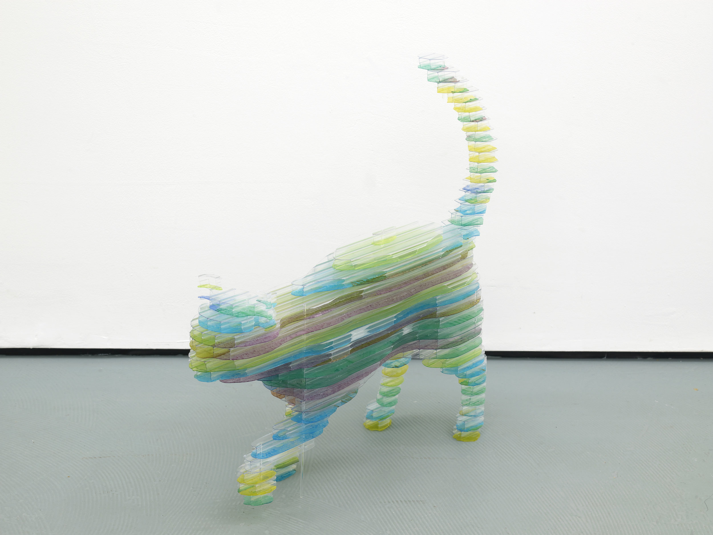 CAPTCHA No. 48 - Domestic Cat (walking)  2016  Multi-wall polycarbonate  66 x 66 x 20 cm / 25.9 x 25.9 x 7.8 in