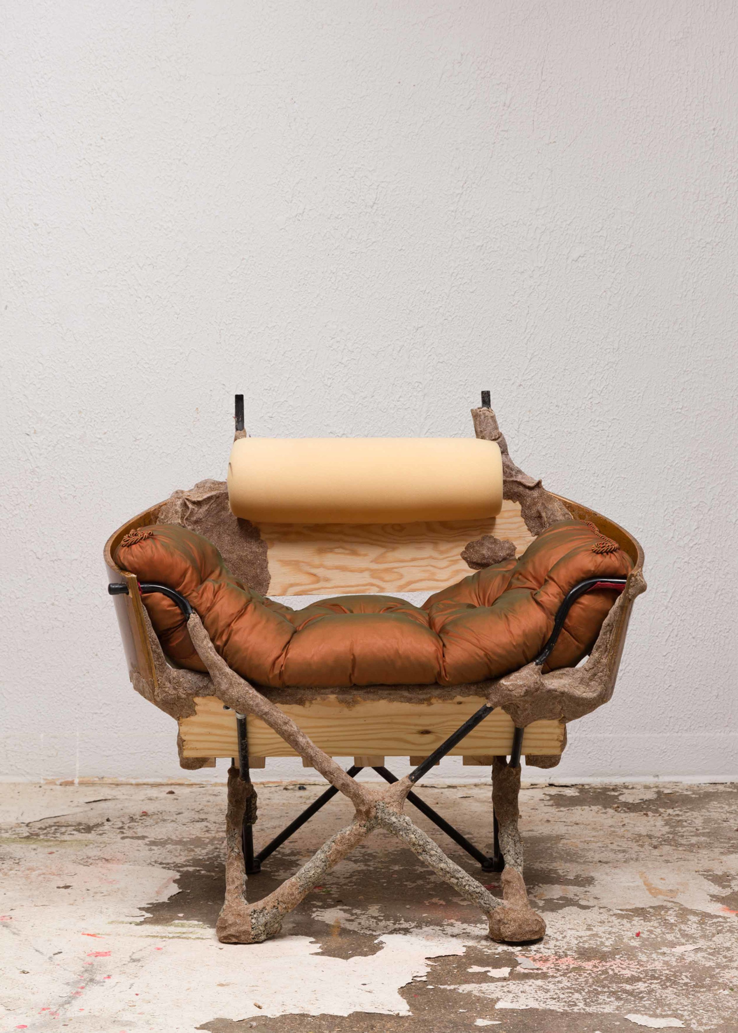 Crust Bucket Comes to Town (slipper chair) 2016 Steel frame, pine, studio dust, wood glue, polyurethane foam, cotton, silk, plywood, nylon, cording and hardware 91.4 x 96.5 x 96.5 cm / 36 x 38 x 38 in