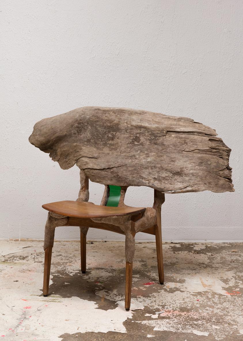 Drift Wood Chair 2016 Teak, driftwood, studio dust, wood glue, plexiglass, hardware 38 x 47 x 29 inches (96.52 x 119.38 x 73.66 cm)