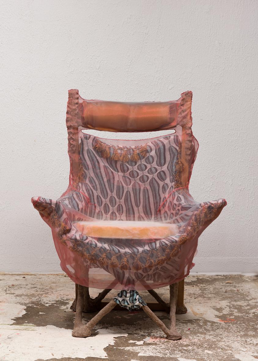 Sports Chair 2016 Steel frame, polyester, cedar, studio dust, wood glue, teak, cotton/spandex, rayon, nylon, polyurethane foam, polyester batting, silk and hardware 59 x 38 x 38 inches (149.86 x 96.52 x 96.52 cm)