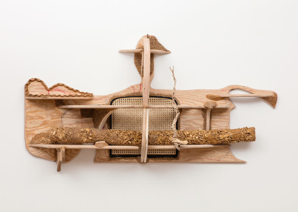 Shelf for a Log 2016 Plywood, sawdust, cane chair seat, ink 34 x 68 x 13 inches (86.36 x 172.72 x 33.02 cm)