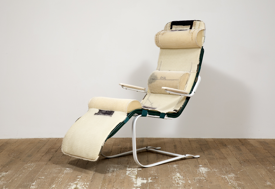 Kragel's Nap Chair 2015 Steel, rattan, enamel, polyurethane foam, cotton, Ink, plastic glass and hardware 47 x 24.5 x 48 inches (119.38 x 62.23 x 121.92 cm)