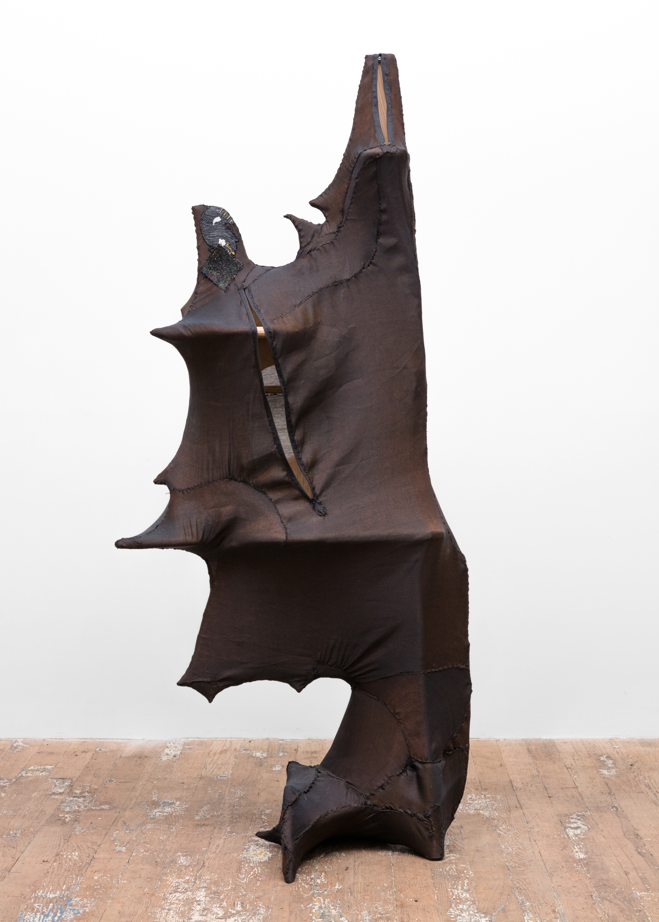 Night Cabinet (Little Miss Attitude) 2016 Plywood, wood, steel, silk, zippers 72 x 32 x 26 inches (182.88 x 81.28 x 66.04 cm)