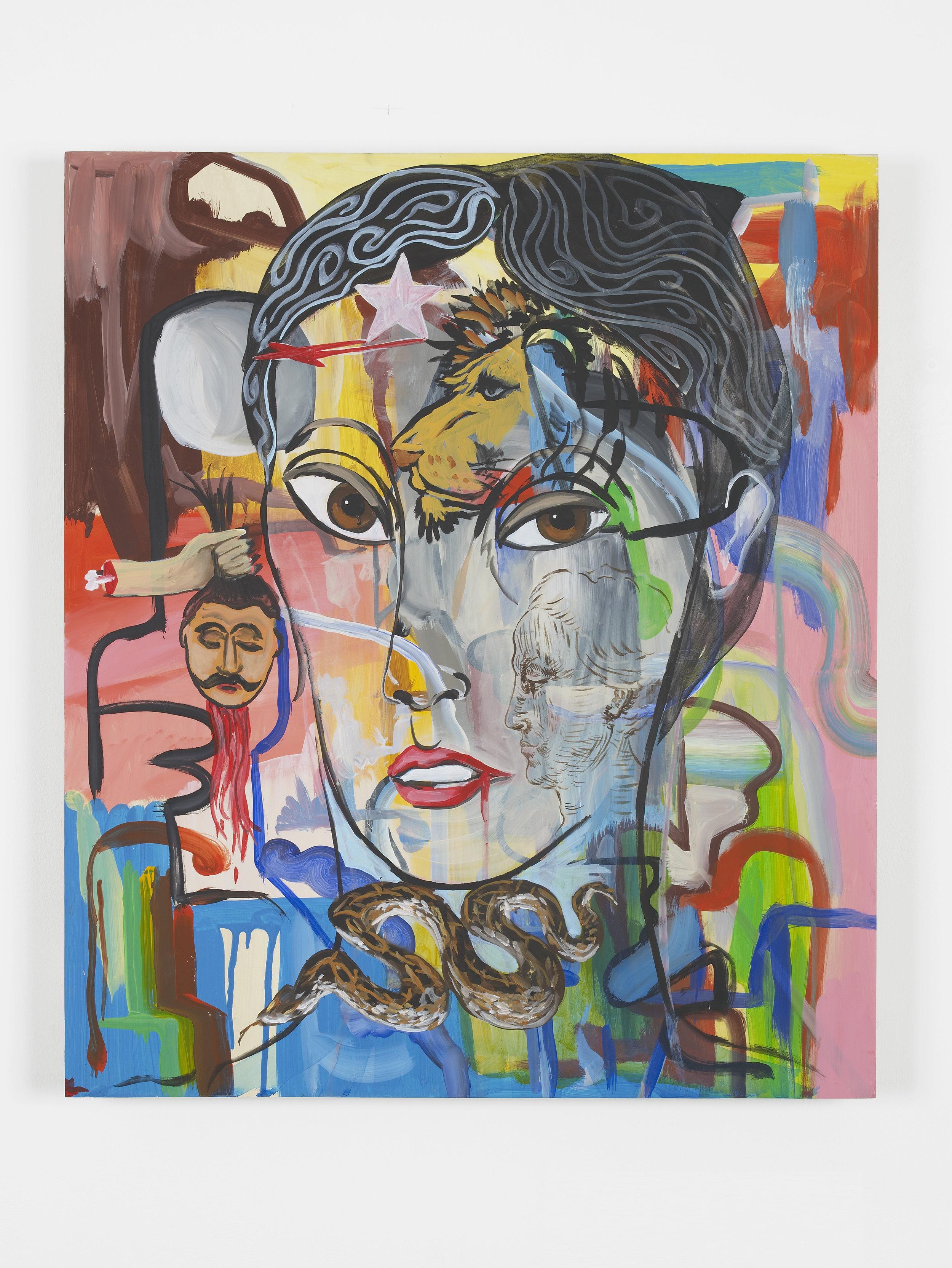 Post-revolutionary Gaze  2017  Acrylic on wood  70 x 60 cm / 27.6 x 23.6 in