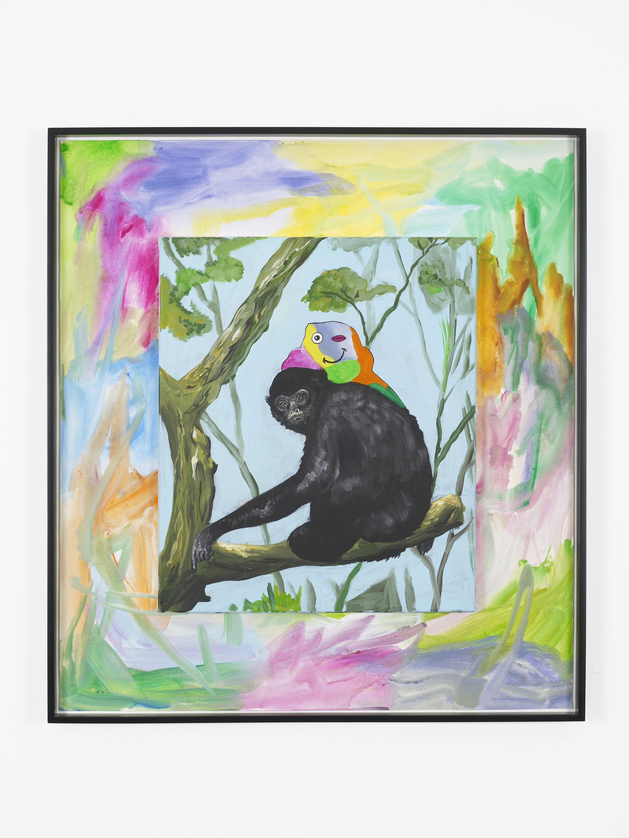 Gibbons Grin  2017  Acrylic on paper and canvas  99 x 90 cm / 39 x 35.4 in, unframed  103.2 x 93.3 cm / 40.6 x 36.7 in, framed