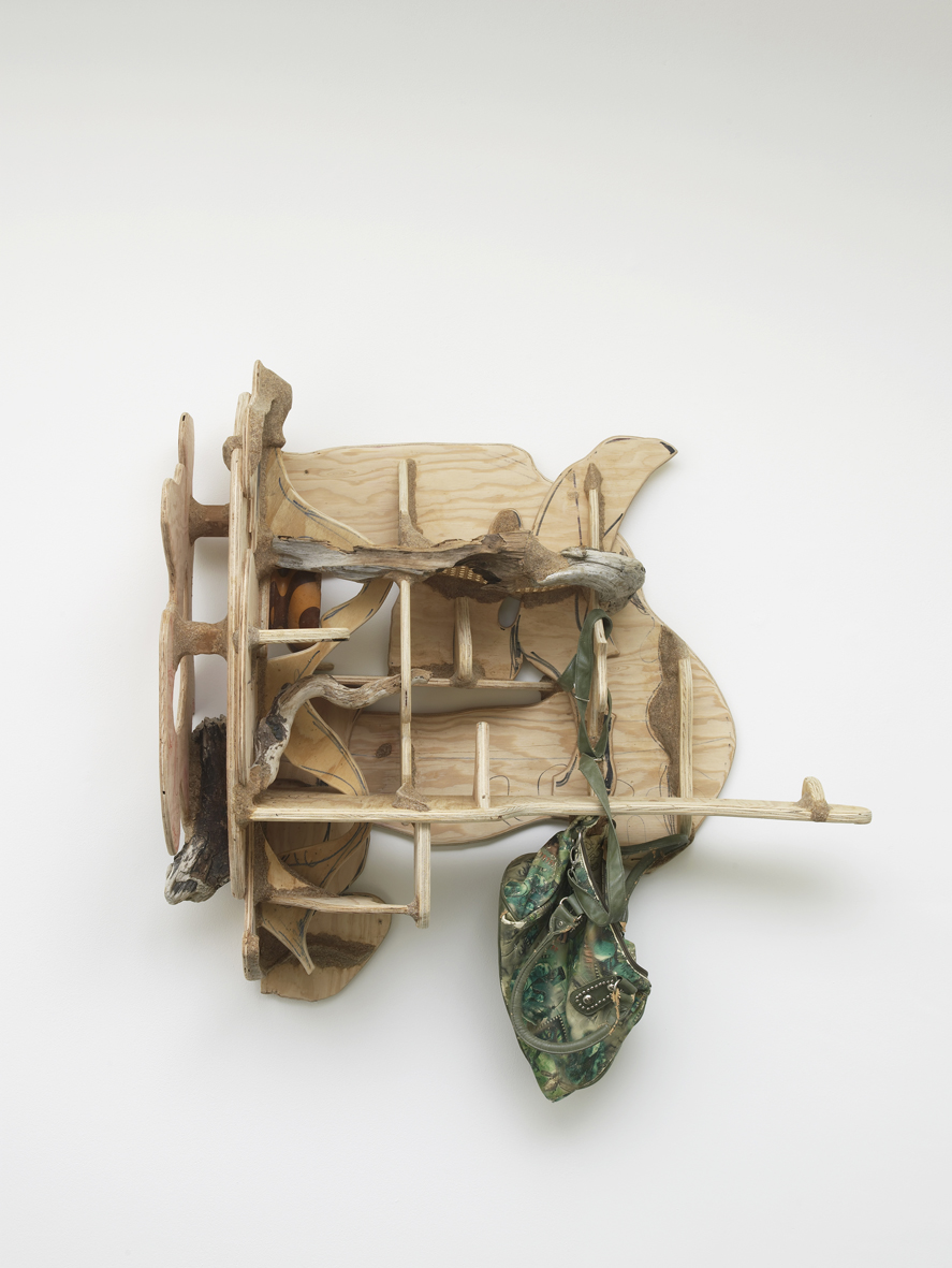 Corner shelf with avatar purse 2017 Plywood, wood, driftwood, chair caning, sawdust, wood glue; ink, hardware and found objects 88.9 x 99.1 x 43.2 cm / 35 x 39 x 17 in