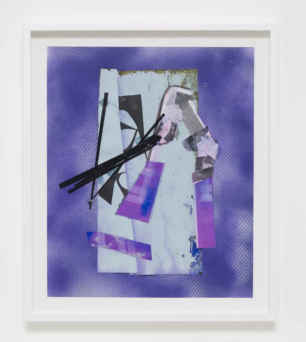 Josh Brand  Untitled  2018  Mixed media, enamel paint, dyed photograms and photocopies  51 x 43 x 4.4 cm / 20 x 16.9 x 1.7 in framed