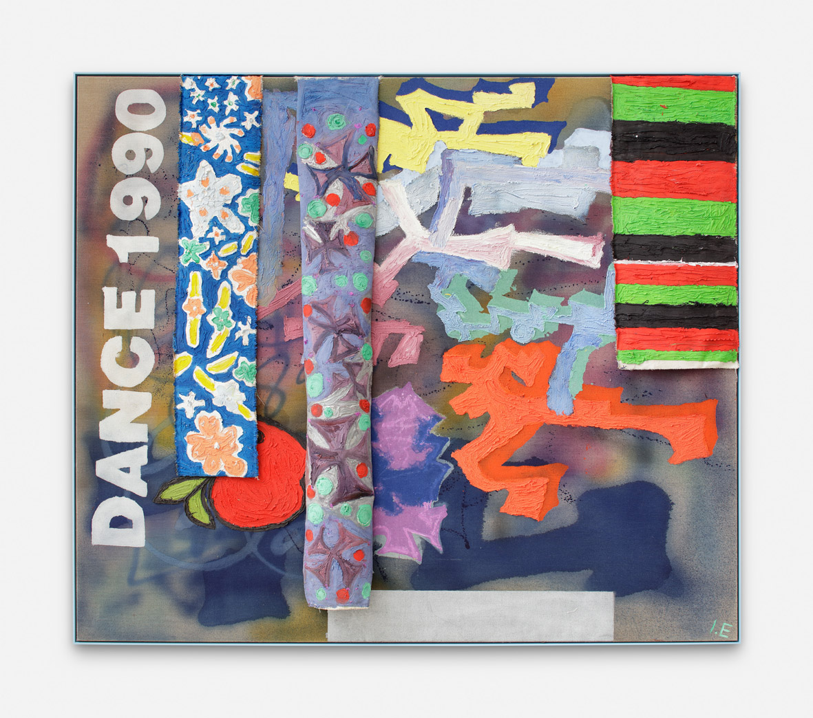 DANCE 1990  2017  Ink, acrylic puff and plastisol on cotton and linen  152.5 x 177.5 x 13 cm / 60 x 69.8 x 5.1 in