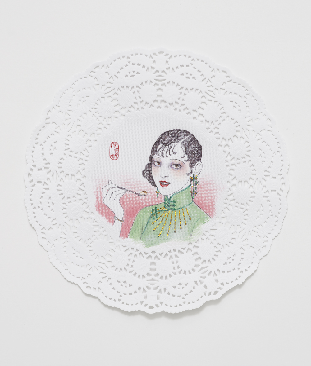 Luncheon (Shanghai 1920s)  2017  Ink, acrylic and glitter on paper doily  21.7 x 21.7 cm / 8.5 x 8.5 in