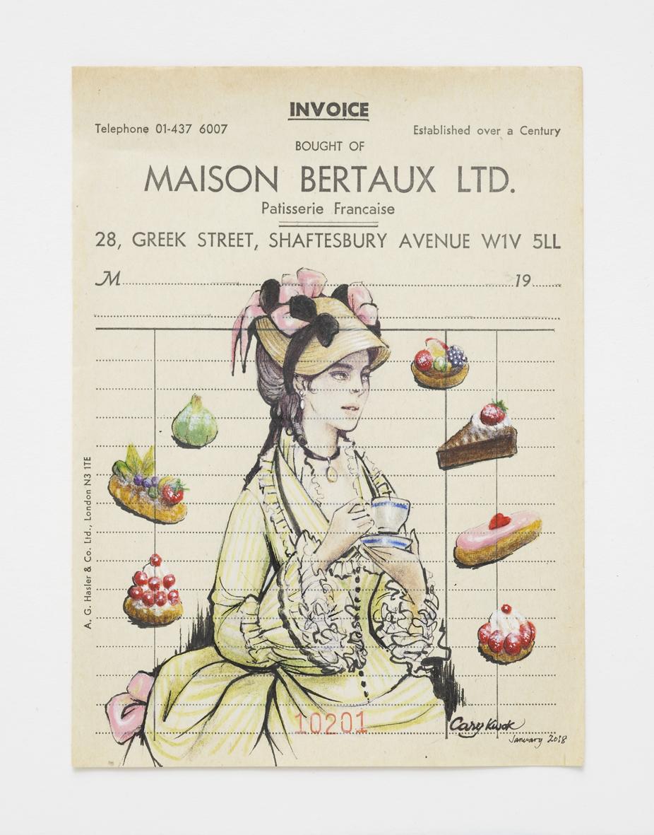 Luncheon (Maison Bertaux London 1871)  2017  Ink, colour pencil and acrylic on antique Maison Bertaux paper invoice  15.1 x 11.1 cm / 5.9 x 4.3 in