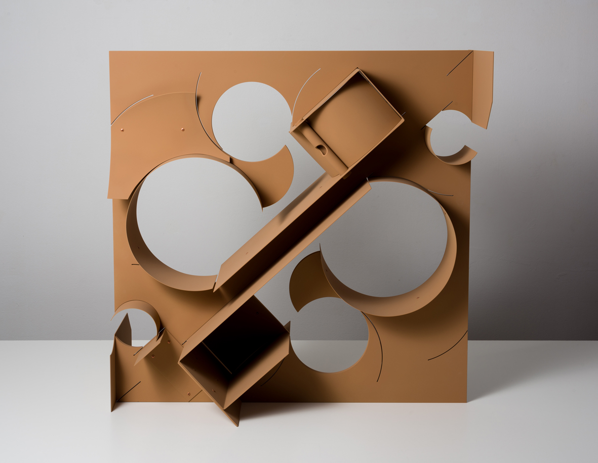 Terre  2017  Aluminium, copper rivets and vinyl paint  77 x 76.2 x 45.7 cm / 30.3 x 30 x 18 in