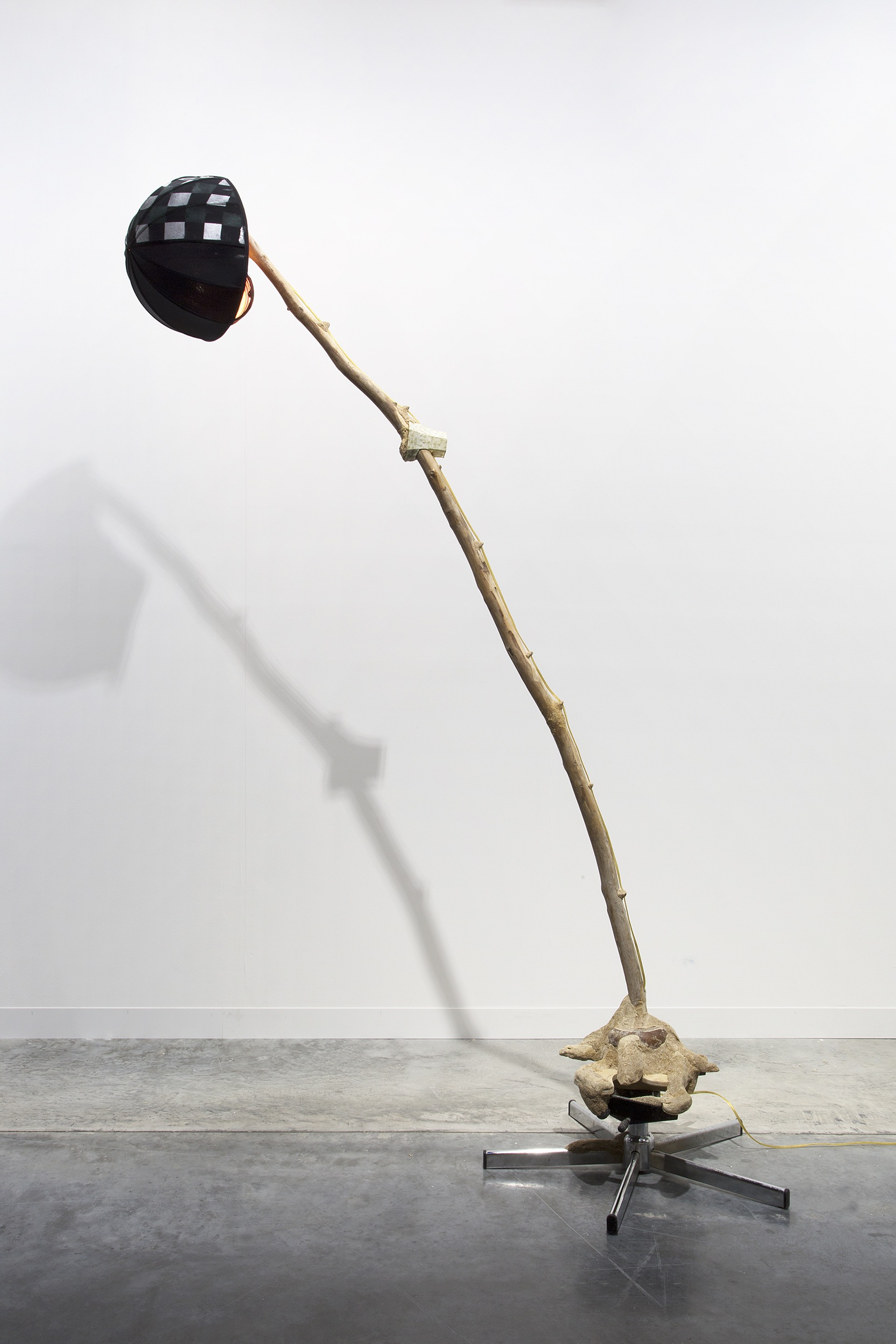 Worthless Lump Lamp  2017  Chair base, bun foot, plywood, sawdust, wood glue, driftwood, lamp wiring and lamp shade (steel and silk)  228.6 x 101.6 x 55.8 cm / 90 x 40 x 22 in