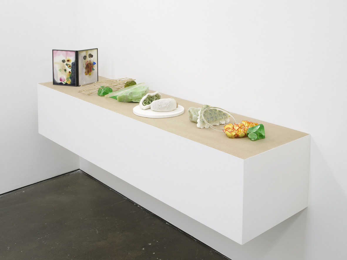 Table Set Green (Spring)  2017  Glass, resin, gesso, plaster, porcelain, wood, watercolour, hinged frame and found textiles  31.5 x 220 x 45 cm / 12.4 x 86.6 x 17.7 in