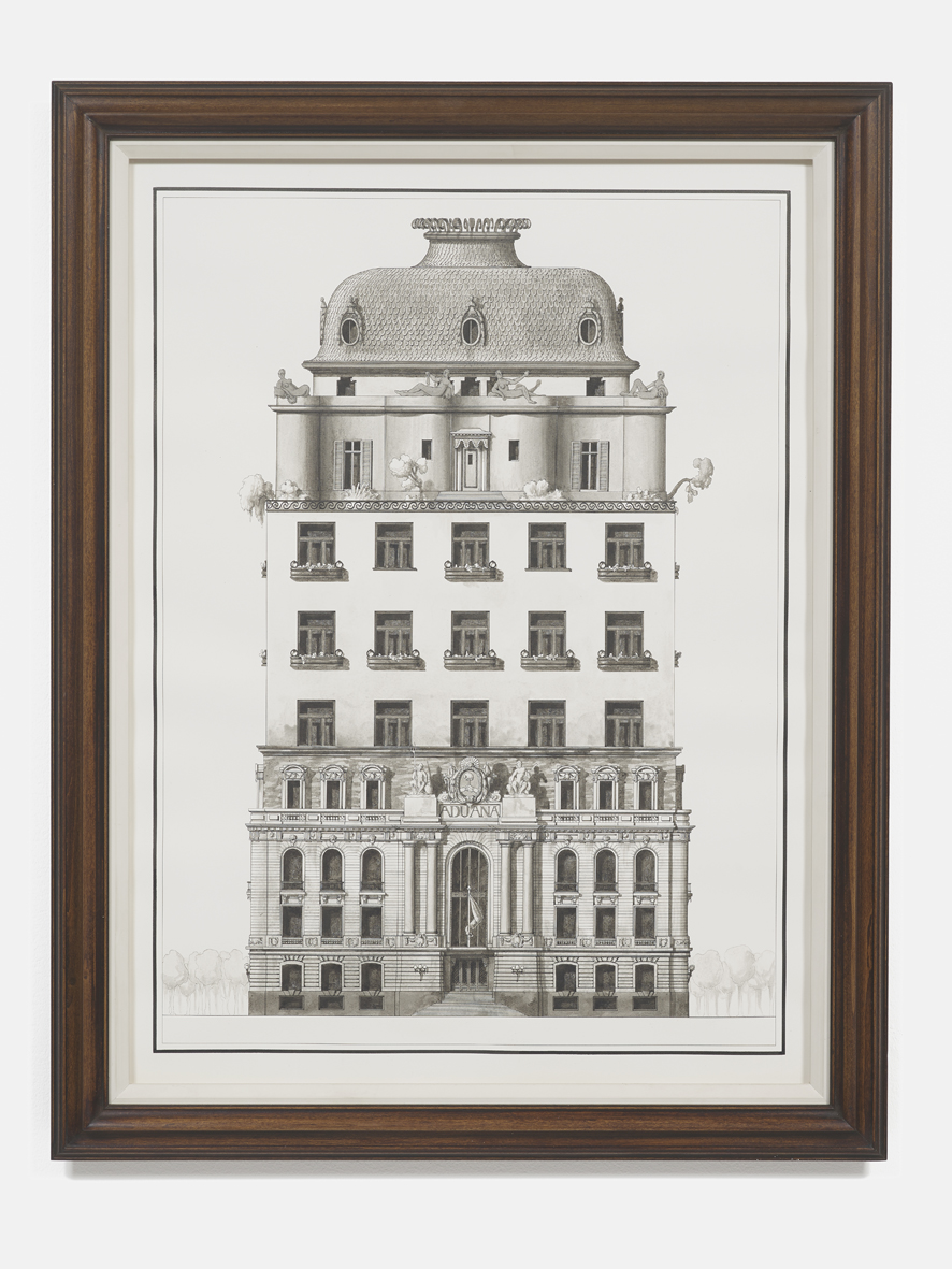 Apartment Building composed of three early 20th century buildings, demonstrating the coexistence of conservative and progressive tendencies in architecture  2018  Ink on paper, artist's frame  86 x 66 x 5 cm / 33.9 x 26 x 2 in, framed