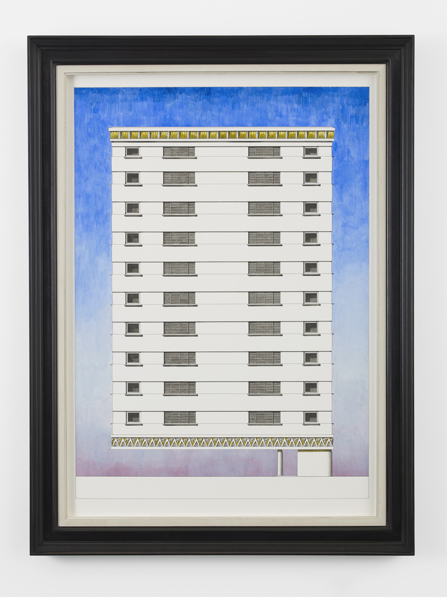 Dramatically cantilevered building  2018  Ink and watercolour, artist's frame  90.5 x 63.6 cm / 35.6 x 25.1 in, unframed  103.8 x 77 x 6 cm / 40.9 x 30.3 x 2.4 in, framed