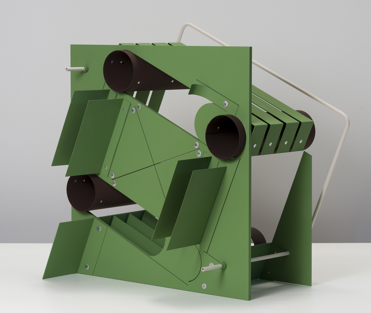 Untitled (Machines - oxide green, brown, rose)  2018  Aluminum, aluminum rivets, vinyl paint  67.3 x 62.2 x 44.5 cm / 26.5 x 24.5 x 17.5 in