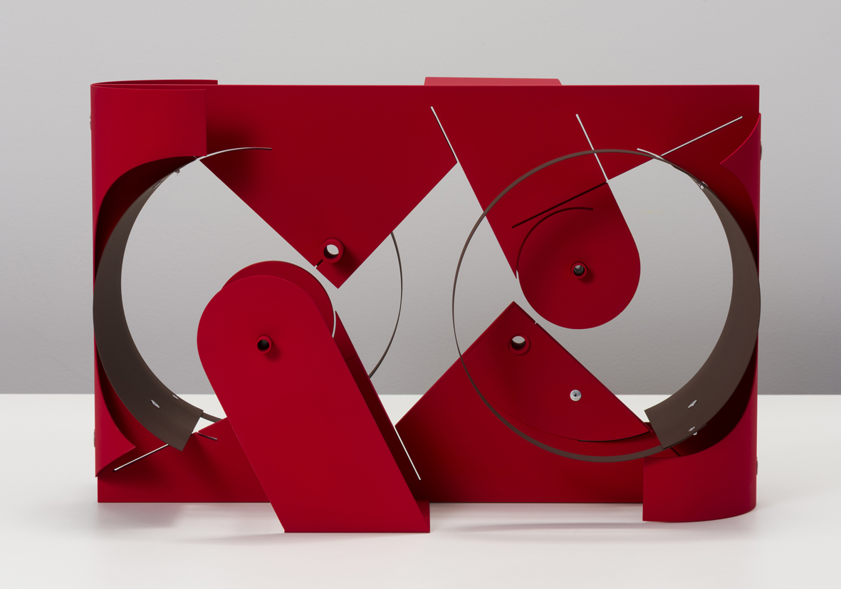 Untitled (Machines - ruby, brown)  2018  Aluminum, aluminum rivets, vinyl paint  35.6 x 55.9 x 30.5 cm / 14 x 22 x 12 in