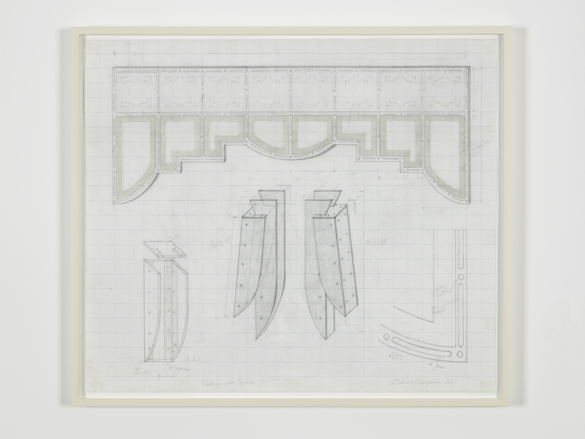 Drawing for Valance and Peplum  2017  Graphite and coloured pencil on vellum graph paper  63.5 x 73.7 cm / 25 x 29 in, unframed  65.4 x 75.6 x 3.8 cm / 25.7 x 29.8 x 1.5 in, framed