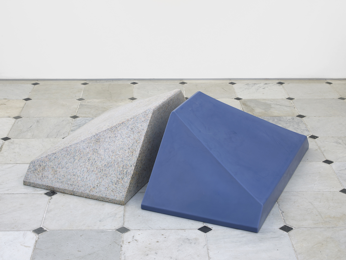 While inside (funny float)  2019  Object for animal enrichment, blueberry polyethylene, speckled white polyethylene, food-grade resin  2 parts, each: 38 x 57 x 107 cm / 15 x 22.4  x  41.1 in