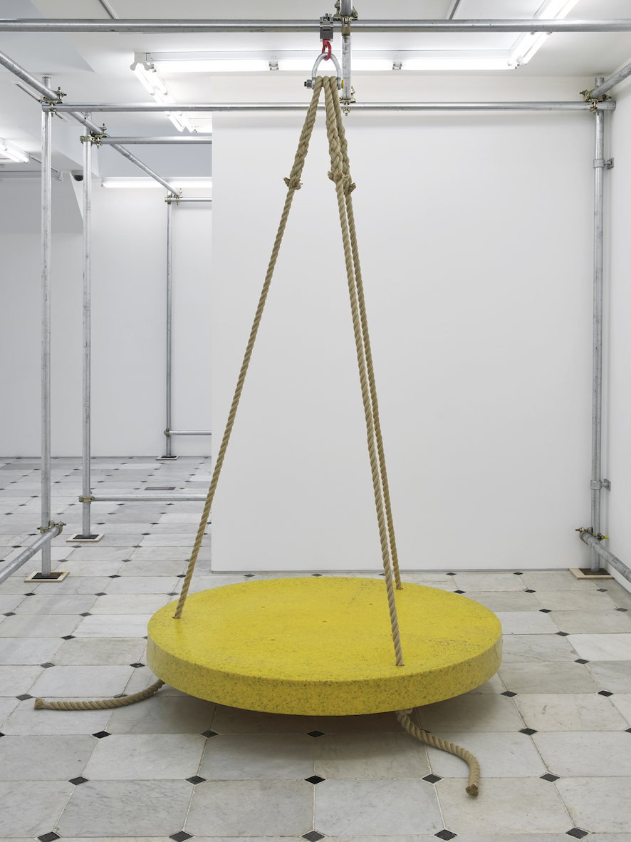 While inside (swinger)  2019  Object for animal enrichment, speckled yellow polyethylene, ropes, support shackle and carabiner  ⌀134.6 cm / 53 in