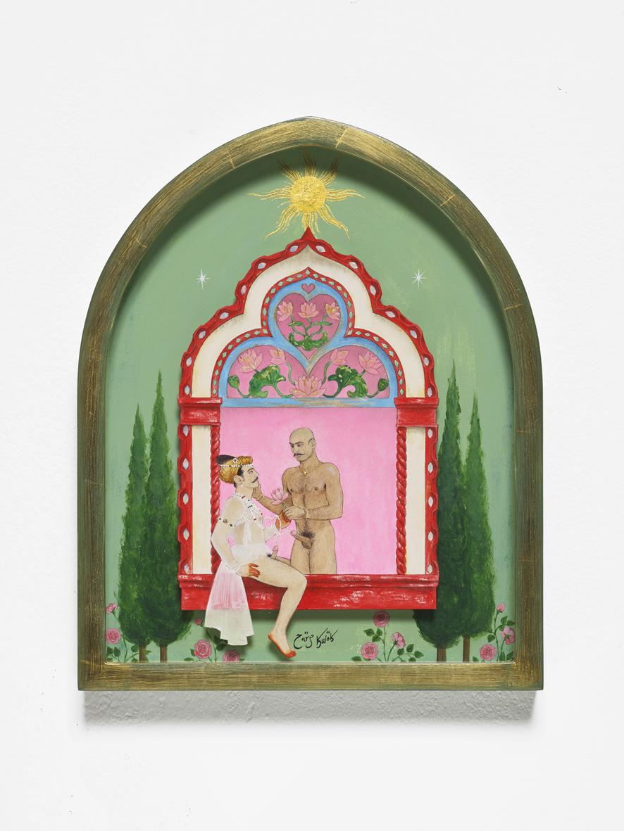 'Mughal-e-Azam 2 - Goodbye Anarkali. Hello Wrestler!'  2019  Acrylic, ink, gold leaf, acrylic varnish and pearlescent powder on paper, artist's frame  33.3 x 27.1 x 3.8 cm / 13.1 x 10.7 x 1.5 in