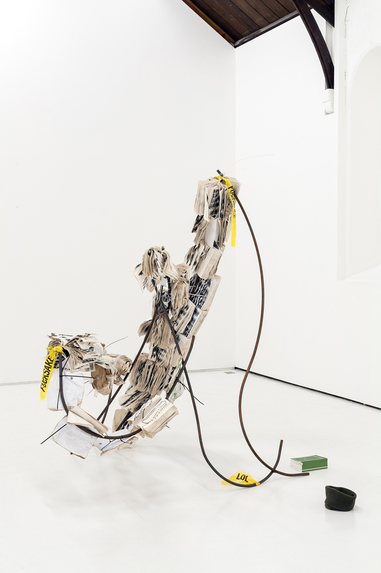 Unfucking Titled (fucked dove)  2018  Steel, paperback publication, cable ties and concrete  158 x 180 x 195 cm / 62.2 x 70.9 x 76.8 in