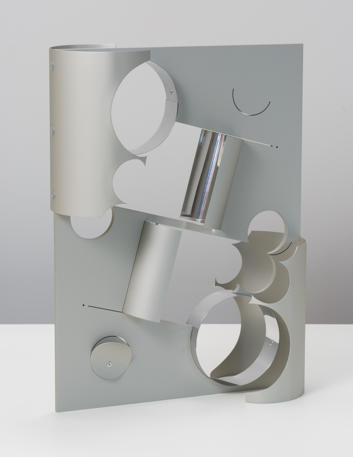 Tina  2018  Anodised and polished aluminium, aluminium rivets  57.7 x 43.1 x 17.7 cm / 22.75 x 17 x 7 in