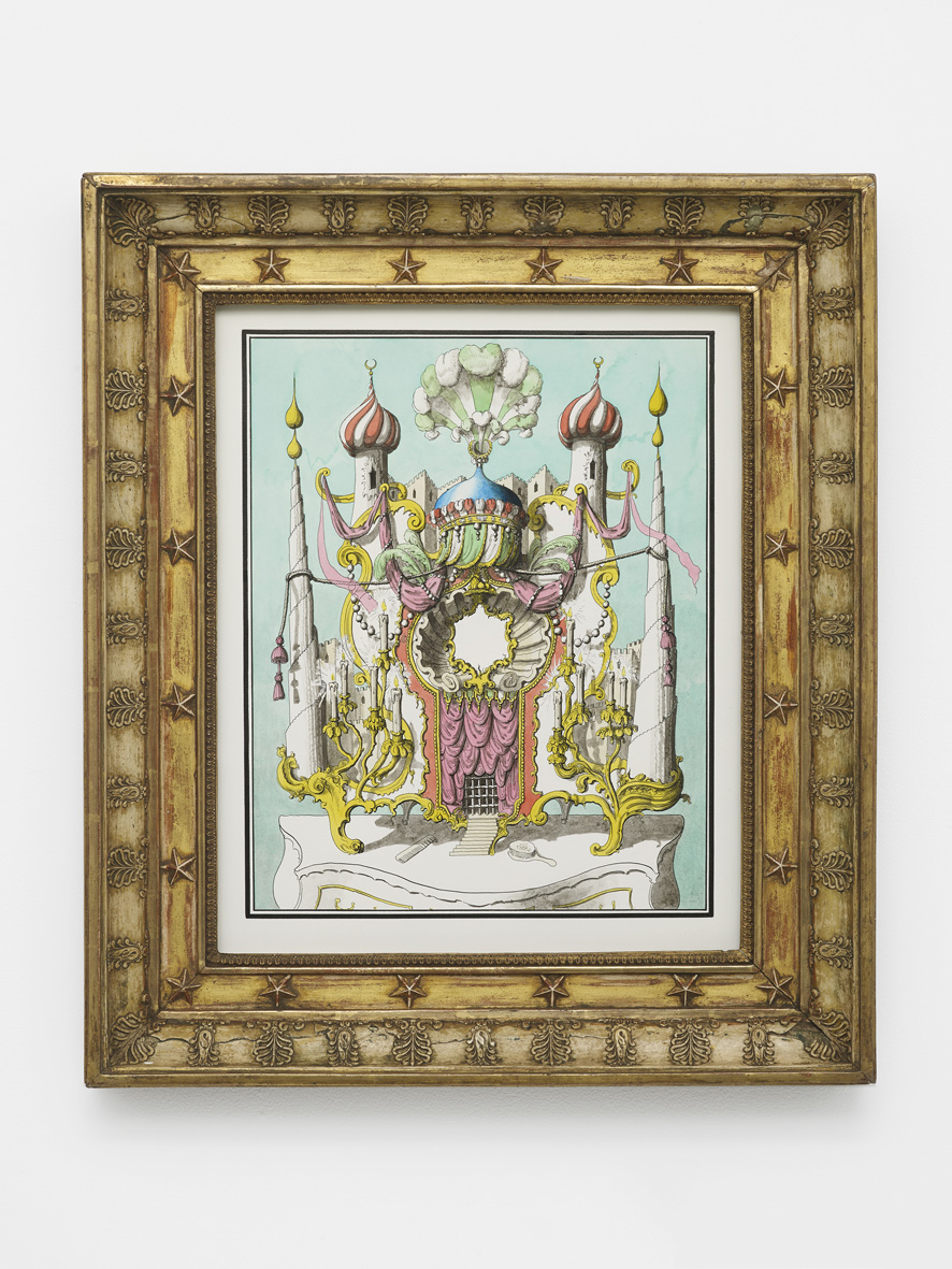 Dressing Mirror in the style of the Turkish Seraglio  2019  Ink and watercolour on paper, artist's frame  57.5 x 49.5 x 6.5 cm / 22.6 x 19.4 x 2.5 in