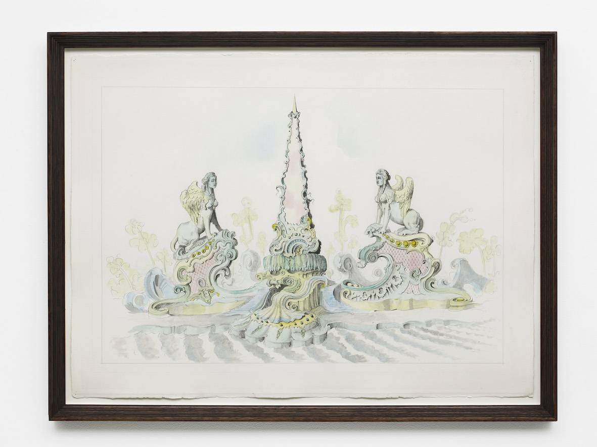 Obelisk and Sphinxes in the 18th Century Taste  2018  Watercolour and pencil on paper, artist's frame  64.5 x 84.2 x 4 cm / 25.4 x 33.1 x 1.6 in