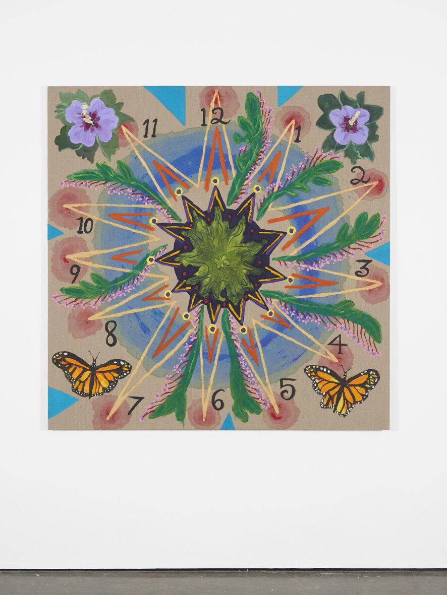 Tabboo!  The Clock  2018  Acrylic and glitter on linen  152.4 x 152.4 x 2 cm / 60 x 60 x 0.8 in